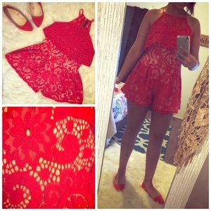 Red Lace Floral Romper